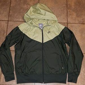 Women's sz XL Nike hooded jacket two tone green